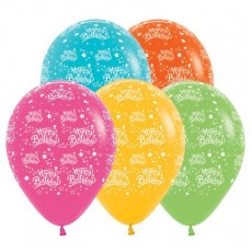 Happy Birthday Tropical Multi Coloured Stars Latex Balloons