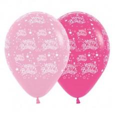 Happy Birthday Fashion Pink & Fuchsia Stars Latex Balloons