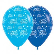 Happy Birthday Fashion Blue & Royal Blue Stars Latex Balloons