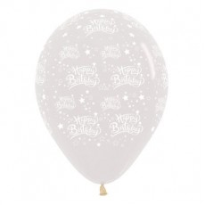 Happy Birthday Crystal Clear Stars Latex Balloons