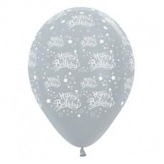Happy Birthday Satin Pearl Silver Stars Latex Balloons