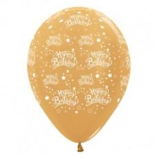 Happy Birthday Metallic Gold Stars Latex Balloons