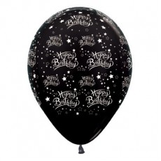 Happy Birthday Metallic Black Stars Latex Balloons