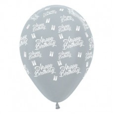Happy Birthday Metallic Pearl Silver Presents Latex Balloons