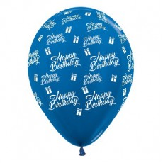 Happy Birthday Metallic Blue Presents Latex Balloons