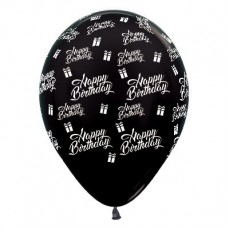 Happy Birthday Metallic Black Presents Latex Balloons