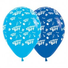 Happy Birthday Fashion Blue & Royal Blue  Latex Balloons