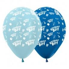 Happy Birthday Satin Pearl Blue & Metallic Blue  Latex Balloons