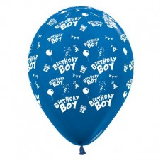 Happy Birthday Metallic Blue  Latex Balloons