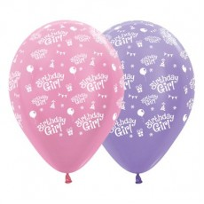 Happy Birthday Pink & Pearl Satin Lilac  Latex Balloons