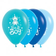 Teardrop Fashion Multi Coloured Baby Shower - General Teddy It's A Boy Latex Balloons 30cm Pack of 25