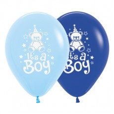 Teardrop Fashion Royal Blue & Light Blue Baby Shower - General Teddy It's A Boy Latex Balloons 30cm Pack of 6