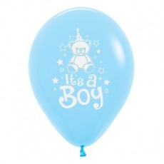 Baby Shower - General Pastel Blue Teddy Latex Balloons