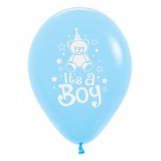 Teardrop Fashion Light Blue Baby Shower - General Teddy It's A Boy Latex Balloons 30cm Pack of 6