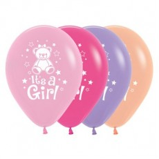 Teardrop Fashion Multi Coloured Baby Shower - General Teddy It's A Girl Latex Balloons 30cm Pack of 25