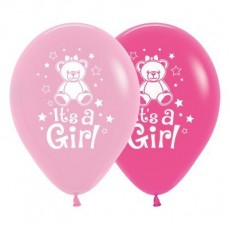 Teardrop Fashion Pink & Fuchsia Baby Shower - General Teddy It's A Girl Latex Balloons 30cm Pack of 6
