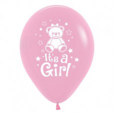 Teardrop Fashion Pink Baby Shower - General Teddy It's A Girl Latex Balloons 30cm Pack of 25