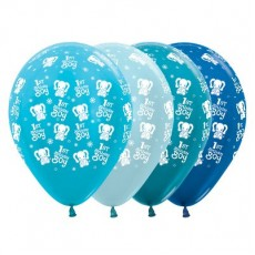 Boy's 1st Birthday Satin Pearl & Metallic Blue Elephants Latex Balloons