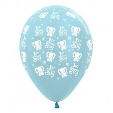 Boy's 1st Birthday Satin Pearl Blue Elephants Latex Balloons
