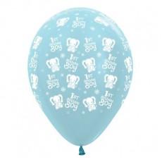 Teardrop Satin Pearl Blue Boy's 1st Birthday Elephants 1st Birthday Boy Latex Balloons 30cm Pack of 6