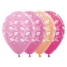 Girl's 1st Birthday Satin Pearl & Metallic Pink Bumble Bees Latex Balloons