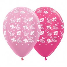 Girl's 1st Birthday Satin Pearl Pink & Metallic Fuchsia Bumble Bees Latex Balloons
