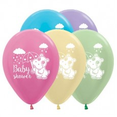 Baby Shower - General Satin Pearl Multi Coloured Hippo Latex Balloons