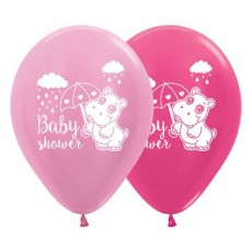 Baby Shower - General Satin Pearl Pink & Metallic Fuchsia Hippo Latex Balloons