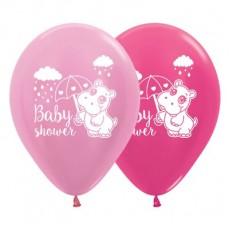 Teardrop Satin Pearl Pink & Metallic Fuchsia Baby Shower - General Hippo Latex Balloons 30cm Pack of 25