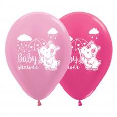 Teardrop Satin Pearl Pink & Metallic Fuchsia Baby Shower - General Hippo Latex Balloons 30cm Pack of 6