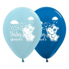 Baby Shower - General Satin Pearl Blue & Metallic Blue Hippo Latex Balloons