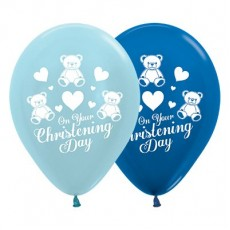 Christening Satin Pearl Blue & Metallic Dark Blue  Latex Balloons
