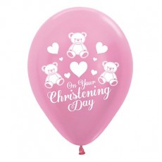 Christening Party Decorations - Latex Balloons Satin Pearl Pink