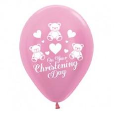 Christening Satin Pearl Pink  Latex Balloons