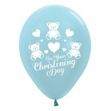 Christening Party Decorations - Latex Balloons Satin Pearl Blue 25pk