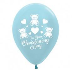 Christening Satin Pearl Blue  Latex Balloons