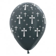 First Communion Metallic Graphite Holy Cross Latex Balloons