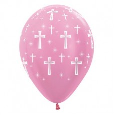 First Communion Satin Pearl Pink Holy Cross Latex Balloons