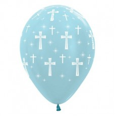 First Communion Satin Pearl Blue Holy Cross Latex Balloons