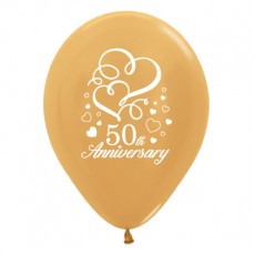 Teardrop Metallic Gold 50th Anniversary Hearts Latex Balloons 30cm Pack of 25