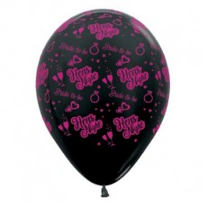 Hens Night Metallic Black  Latex Balloons