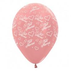 Wedding Metallic Rose Gold Hearts & Latex Balloons