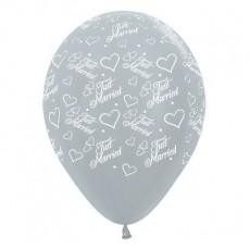 Wedding Satin Pearl Silver Hearts & Latex Balloons
