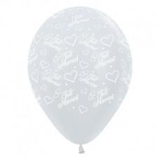 Wedding Satin Pearl White Hearts & Latex Balloons