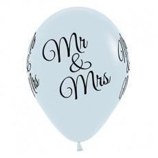 Teardrop Fashion White Wedding Mr & Mrs Latex Balloons 30cm Pack of 25