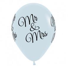 Teardrop Fashion White Wedding Mr & Mrs Latex Balloons 30cm Pack of 6