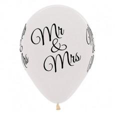 Teardrop Crystal Clear Wedding Mr & Mrs Latex Balloons 30cm Pack of 25