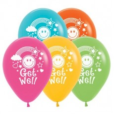 Get Well Tropical Multi Coloured Smiley Faces Latex Balloons