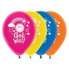 Get Well Crystal Multi Coloured Smiley Faces Latex Balloons
