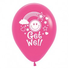 Get Well Fuchsia Smiley Faces Latex Balloons